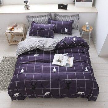 European sytle plaid and strip AB side bed cover men's bed set 4pcs bedclothes bed sheet set plaid bedroom comforter cover set