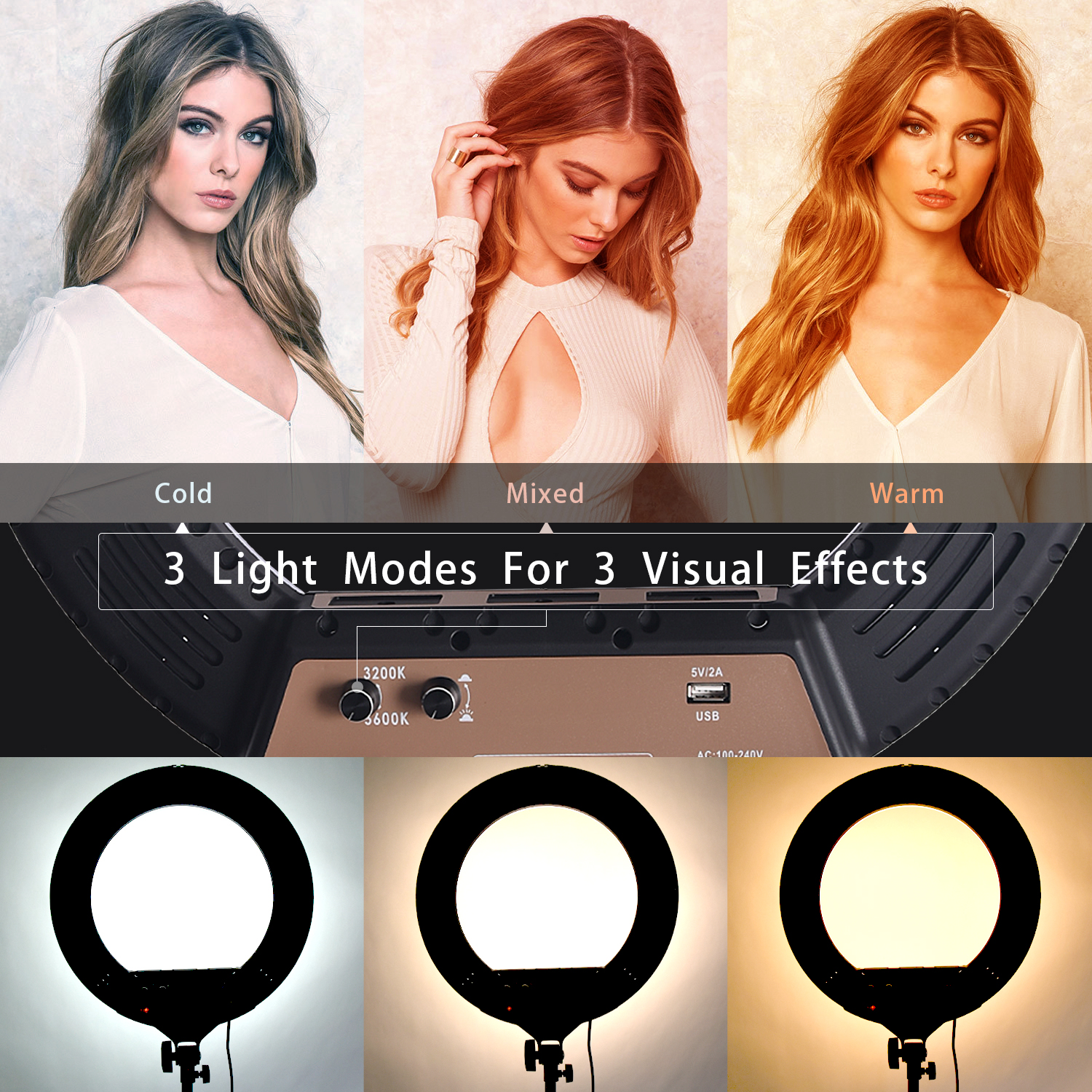 Fosoto 18 Inch LED Ring Light 10