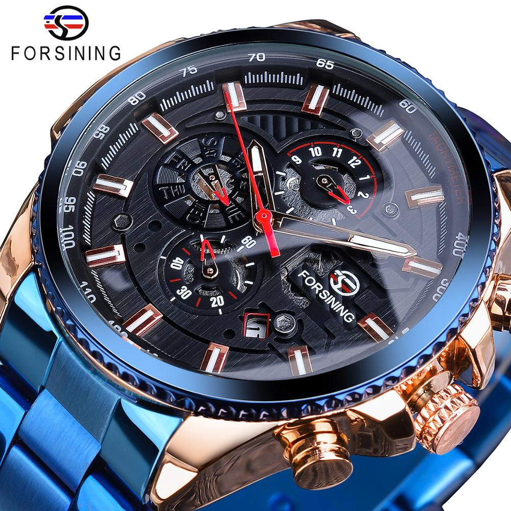 Forsining Three Dial Calendar Stainless Steel Mens Automatic Mechanical Sport Wrist Watches Top Brand Luxury Sport Male Clock