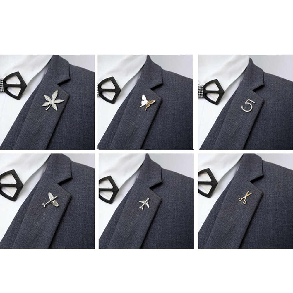 Paduan Bros Unisex Kerah Pin Perapi Kemeja Kerah Perhiasan Aksesoris Logam Indah Pesawat Kupu-kupu Emas Perak