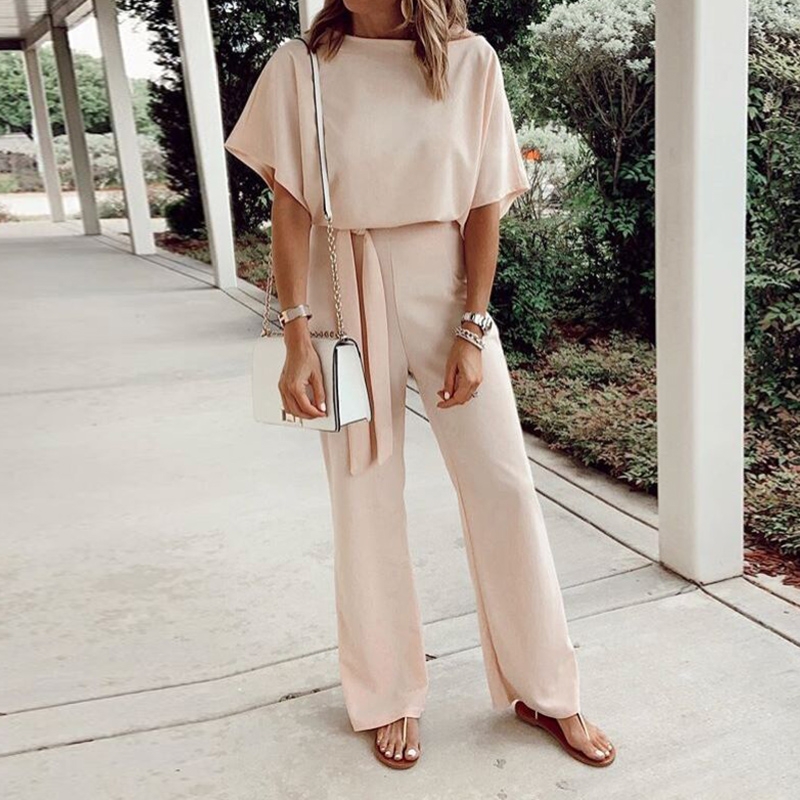 Elegant Work Office Lady Women Jumpsuit Spring Overalls Loose Solid Long Playsuit Lace Up Sashes Jumpsuit Summer Rompers M0403