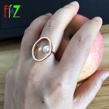 F.J4Z Brand Designer Finger Ring for Women Rock Geo Top Rings Simulated Pearl Rhinestone Ladies Rings Jewelry anillos de mujeres random geo print top