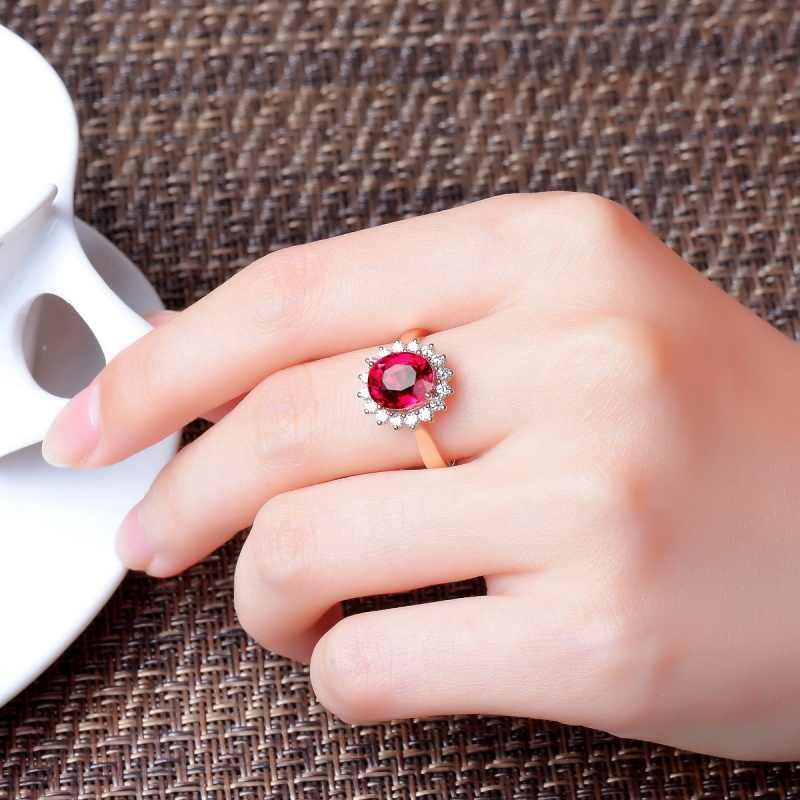 Cristal rouge AAA Zircon redimensionnable anneaux pour les femmes grenat Gem bijoux de mode bijoux anneau cadeau pour fête d'anniversaire mariage