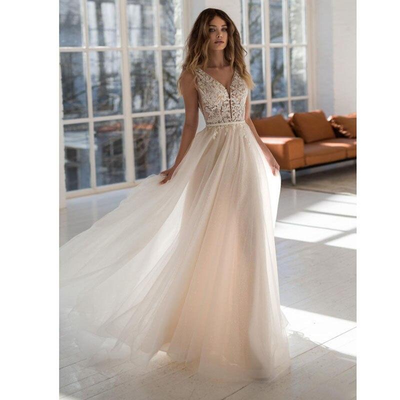 Eightale Beach Wedding Dress 2019 V Neck Appliques A-Line Backless Custom Made Boho Wedding Gowns Lace Bride Dress