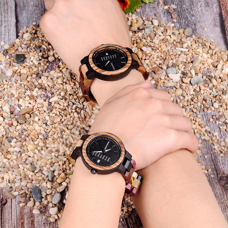 Image 3 - BOBO BIRD P14  Wood Watch Lover Couple Watches Men Women Quartz Week Date Timepiece Colorful Wooden Band logo Customize GitfsLovers Watches   -