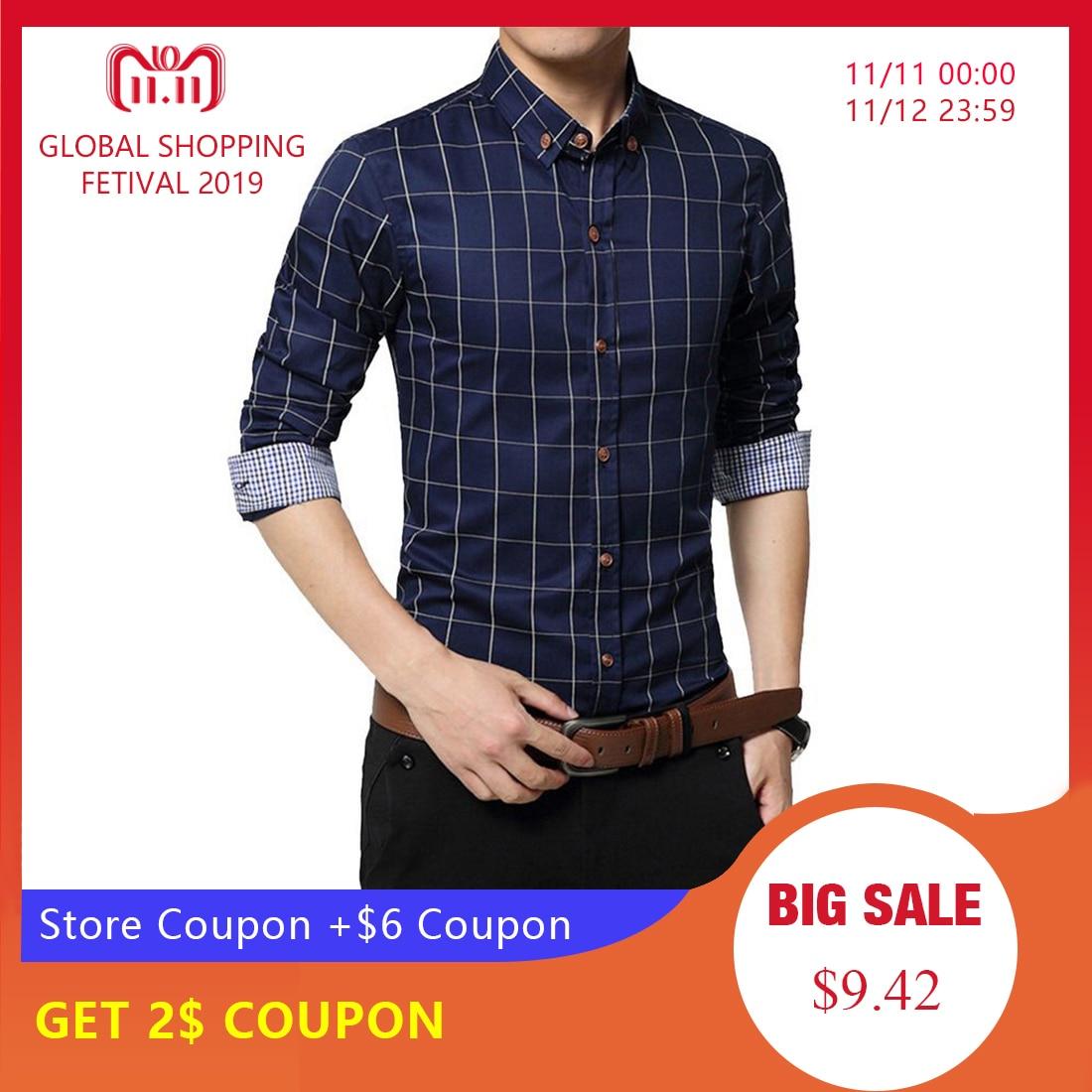 CYSINCOS New Autumn Fashion Brand Men Clothe Slim  Men Long Sleeve Shirt Men Plaid Cotton Casual Men Shirt Social Plus Size 5XL