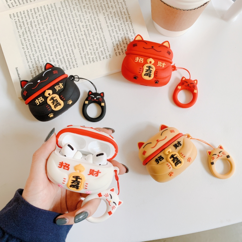 Cute Lucky Cat Earphone Case Soft Silicone Wireless Bluetooth Earphone Protective Case Headphone Case For Apple Airpods Pro