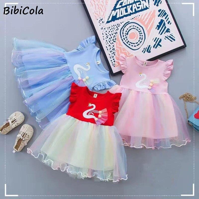 BibiCola New Summer Kids Dresses Girls Dress For Baby Girls Princess dress Children Clothes Girls Birthday dress Cute Dress