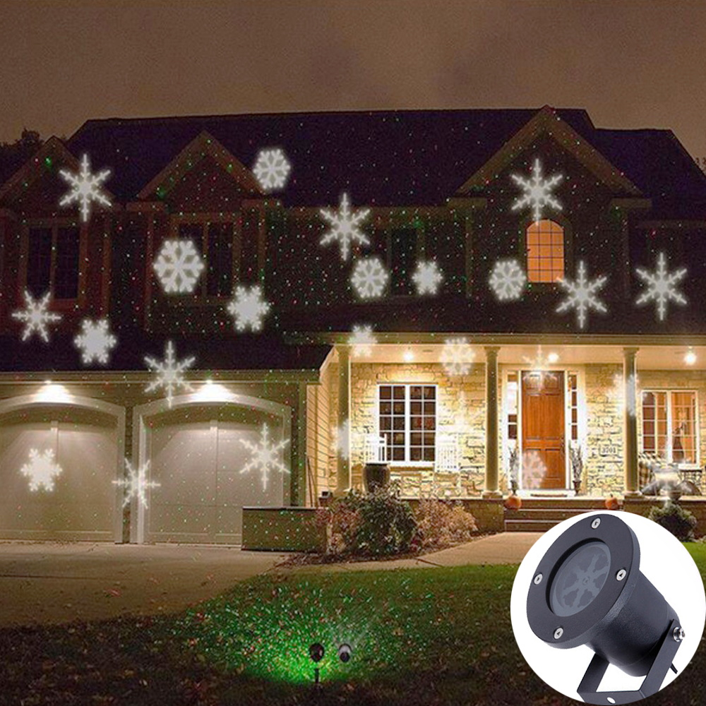 Rotating LED Snowfall Projection Lamp Christmas Lights Outdoor Waterproof Snow Falling Spotlight Projection Light For Holiday