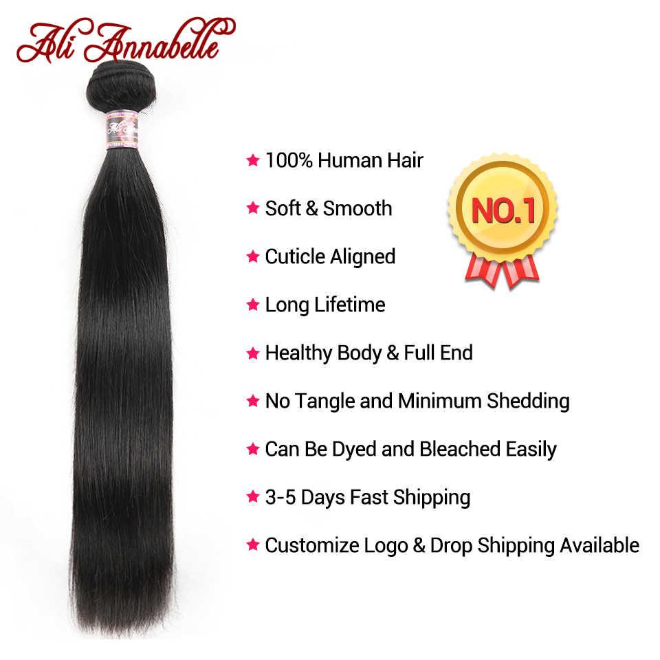 Ali Annabelle perulu düz saç demetleri ile kapatma 5x5 dantel kapatma ön koparıp bebek saç 100% insan saçı postiş