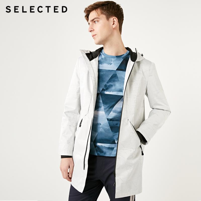 SELECTED New Men's Hooded Trend Marble Pattern Regular Fit Medium And Long Coat S |4191OM542