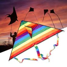 Colorful Rainbow Kite Kites Long Tail Polyester Outdoor Flying Toys For Children Kids Stunt Kite Surfing With Line