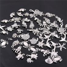 30 шт./лот, античное серебро, смешанный цвет, океанские животные, ракушки, подвески для браслета, ожерелья, сделай сам, аксессуары для изготовления ювелирных изделий