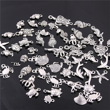 30pcs/lot Antique Silver Color Mixed Ocean Animal Shell Charms Pendants for Bracelet Necklace DIY Jewelry Making Accessories 30pcs mixed tibetan silver tone crown key animal charm pendants for bracelet necklace jewelry accessories diy jewelry making