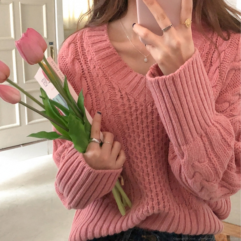 Vintage Bodkin Sweater Women Loose V-neck Long Sleeve Sweater Pullover Knitted Autumn Jumper Tops M98093