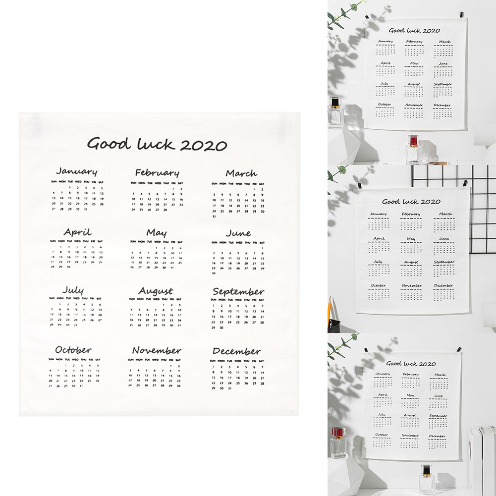 2020 New Year Wall Hanging Cafe Living Room Nordic Cloth Calendar Tablecloth Good Luck DIY English Hotel Restaurant