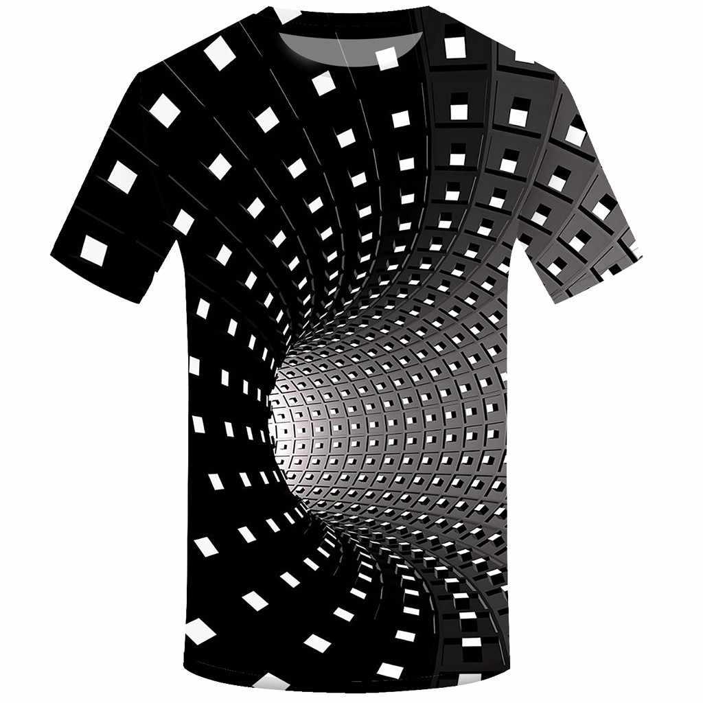 Musim Panas 3D Cetak Lengan Pendek T-shirt Pria T Shirt Fashion Vertigo Hipnotis Pencetakan Warna-warni 3D T-shirt Camiseta Masculina 2020