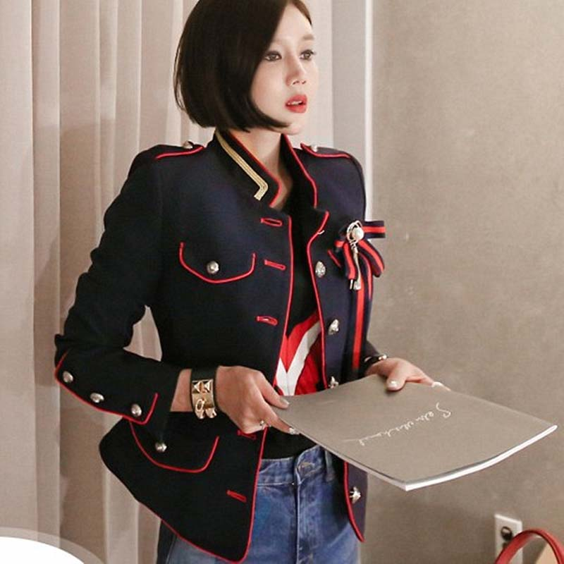 YUSHU Women Navy Blue Blazer Feminino Single Breasted Bow Brooch Short Suit Jacket Office Ladies Chic Slim Blazers Outwear Coat