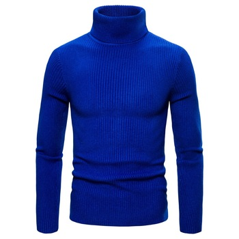 Men's High Neck Knit Sweater Solid Color Slim Multicolor High Quality Cotton Thicken Warm Winter Fashion Knit Pullover color block mixed knit pullover sweater