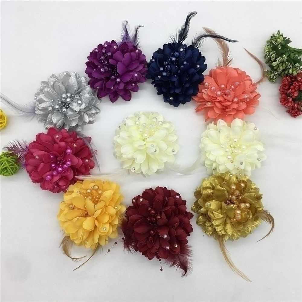 새로운 도착 3d 스팽글 깃털 펠트 천으로 abs 진주 화환 인공 꽃 크리스마스 장식 발렌타인 데이 바느질 꽃