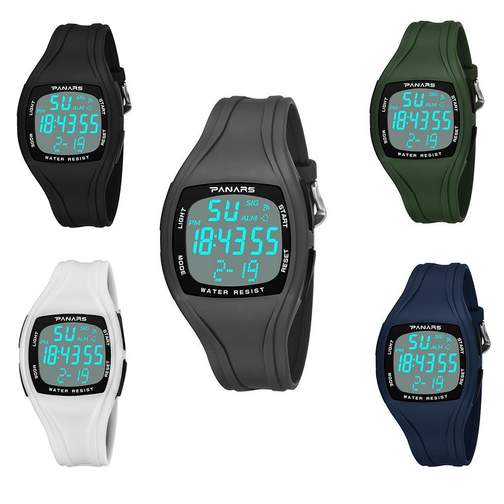 Sport Men LED Square Dial Steel Waterproof Alarm Luminous Digital Wrist Watch Mas-culino Fashion Men's Watch Large Dial Military