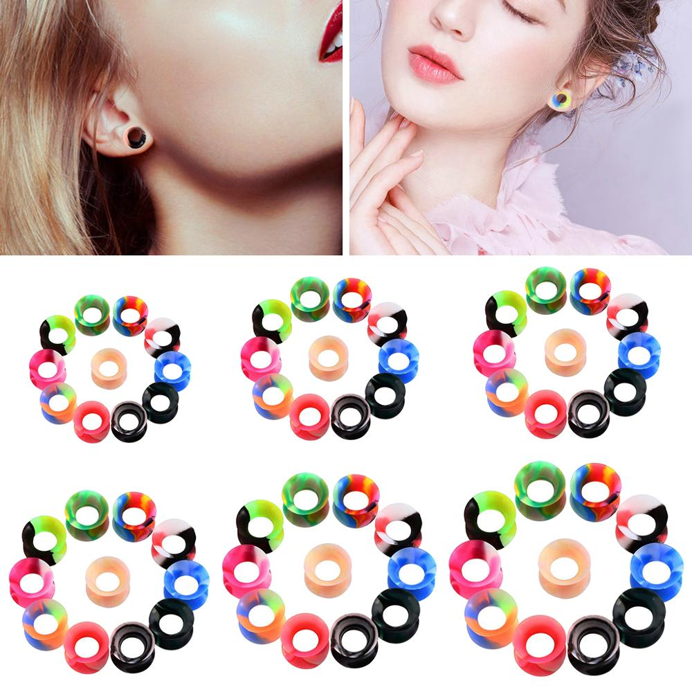 11 Pairs Soft Silicone Tunnels Ear Gauges Plugs Stretchers Flexible Expander Ear Stretching Kits 6mm/8mm/10mm/12mm/14mm/16mm image