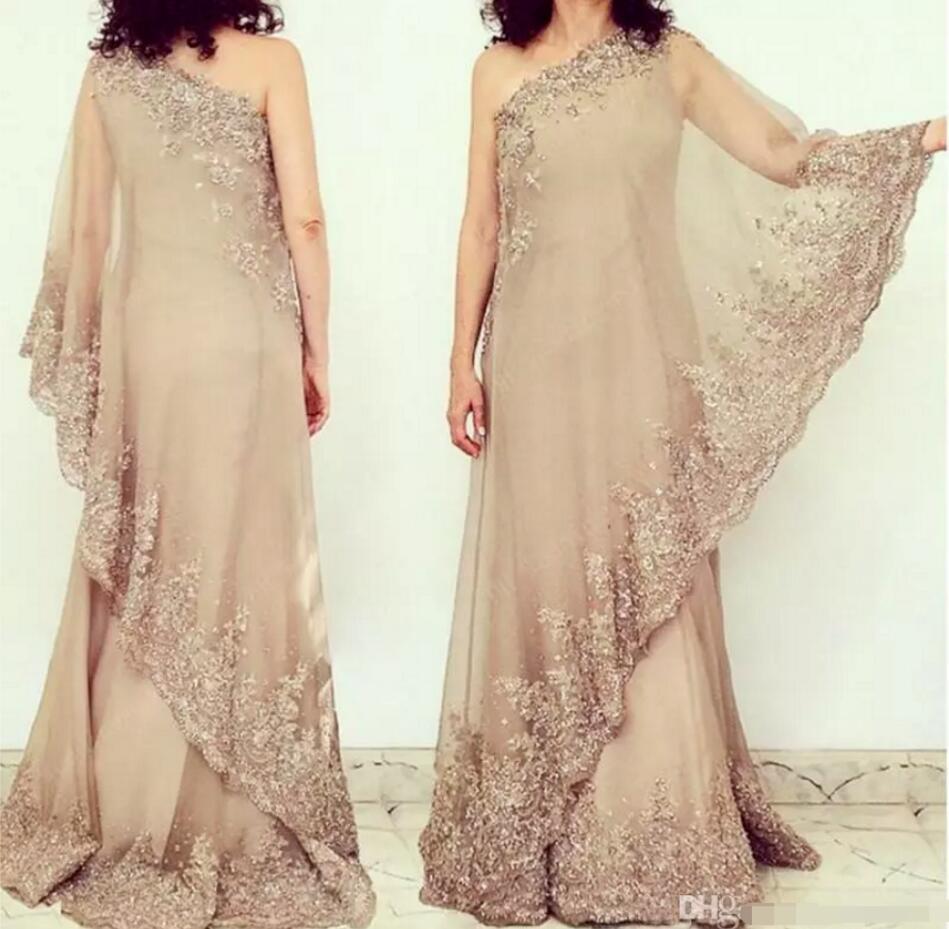 Elegant Lace Applique Mother Of The Bride Dresses One Shoulder Chiffon Evening