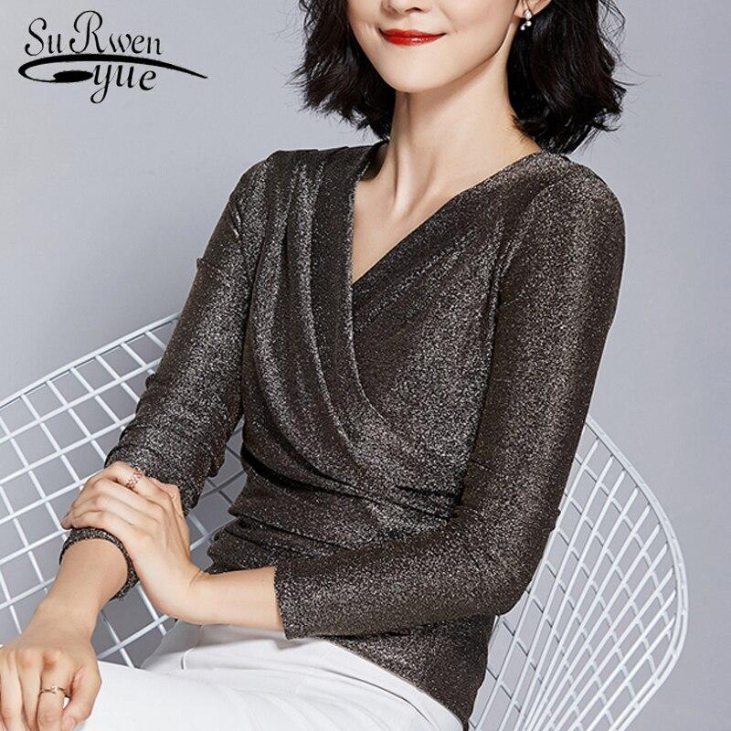 Plus Size Womens Tops and Blouses Women Shirts Blusas Femininas V-Neck Solid Elegant Women Long Sleeve Chic Shirts Blouse 2920