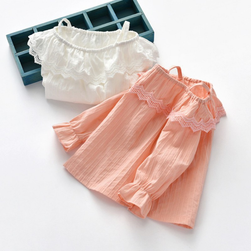 New Autumn Baby Girl Clothes Cute Long Flare Sleeve Solid Off Shoulder T-Shirts Kids Tops Casual Blouse 1-7T
