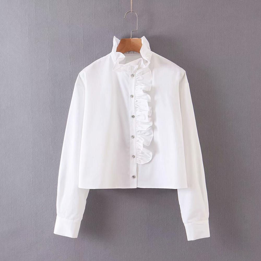 New Women Fashion Cascading Ruffles Diamond Buttons Casual White Shirt Office Ladies Long Sleeve Blouses Roupas Chic Tops LS6329