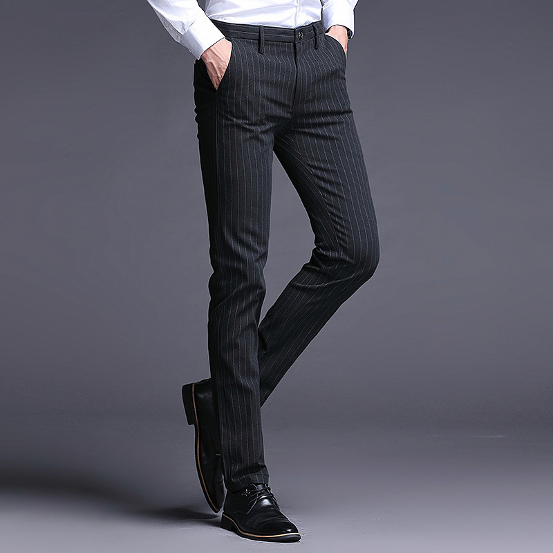 2019 Autumn MEN'S Casual Pants Youth Business Light Straight-leg MEN'S Trousers Stripes Fashion Elasticity Korean-style Casual P