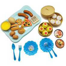 купить 34pcs Children's Kitchen Toys Cutting Fruit Vegetable Plastic Drink Food Kit Pretend Play Early Education Toy For kids дешево