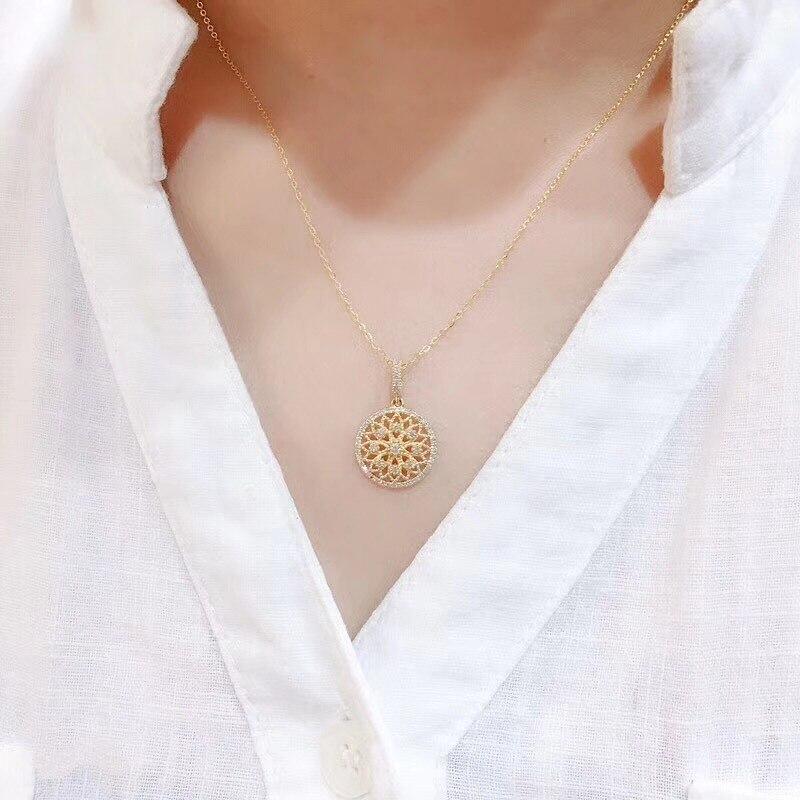 14K Gelb Gold Halskette Anhänger für Frauen natürliche Pierscionki bijoux femme kette halskette naszyjnik Schmuck naszyjnik joyas