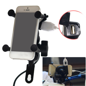 Image 3 - Besegad Motorcycle Mobile Phone Holder Mount Support With USB Charger 360Degree Rotation for Moto pouch 3.5 6 inch GPS bracker