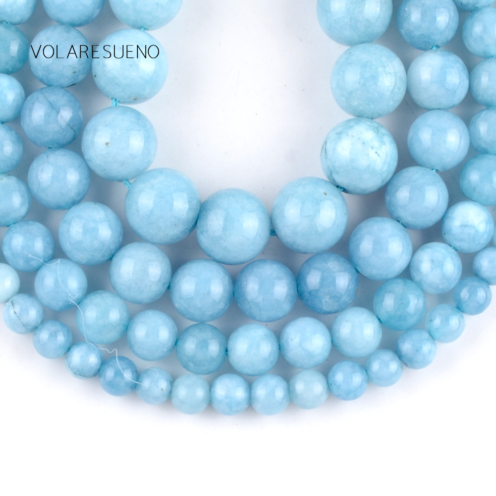 Natural Aquamarin Agat Stone Loose Spacer Beads for DIY Bracelet Jewelry Making