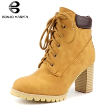 BONJOMARISA New Hot Sale Brand High Chunky Heels Ankle Boots Women 2019 Winter lace-up Platform Booties Shoes Woman