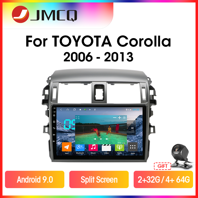 JMCQ Android 9.0 Car Radio Multimidia Video Player For <font><b>Toyota</b></font> <font><b>Corolla</b></font> <font><b>E140/150</b></font> 2006-2013 2din 4G WIFI GPS Navigaion Split Screen image