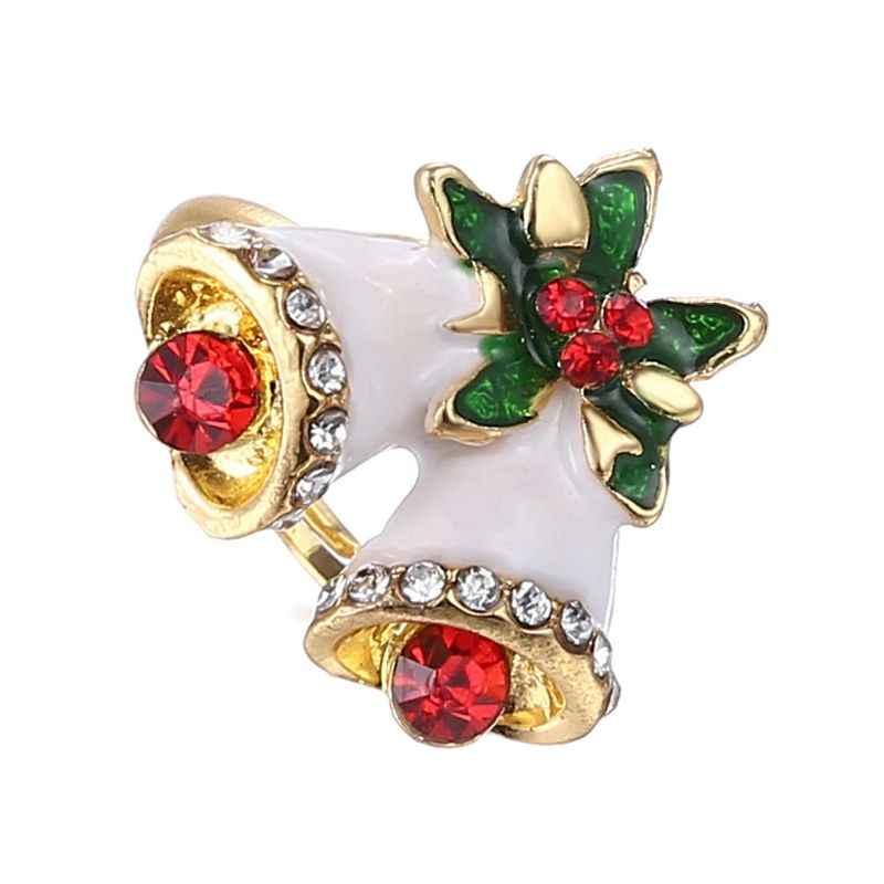 คริสต์มาสแหวนเคลือบการ์ตูนซานตาคลอส Xmas Tree รูปร่างน่ารักแหวน T4MD