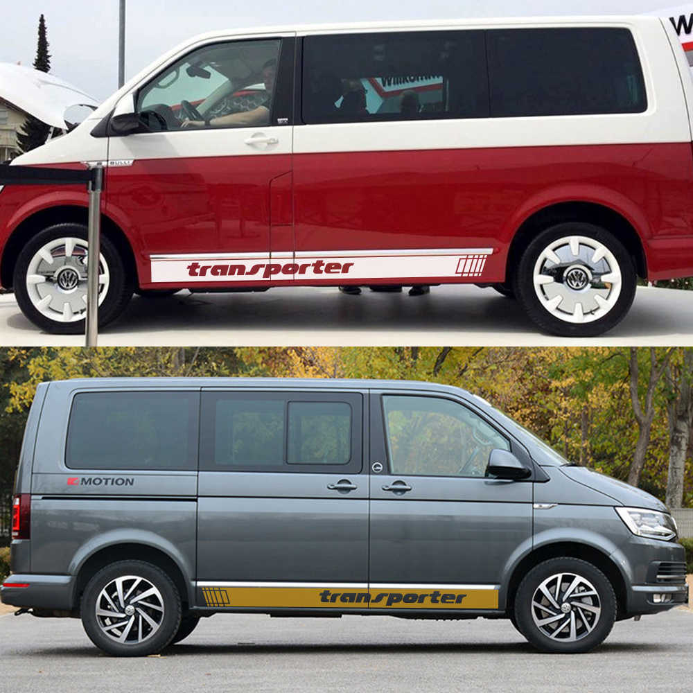 2Pcs Car Side Stripes Stickers Auto Vinyl Film Decoration Decals For Volkswagen Multivan T4 T5 T6 Styling Car Tuning Accessories