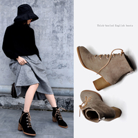 Artmu Vintage British Style High Heels Ankle Boots Leather Thick Heels Women's Boots Handmade Elegant Cross tied Shoes 2019 New