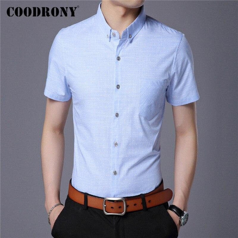 COODRONY Spring Summer Mens Shirts Slim Fit Short Sleeve Shirt Men Clothes Business Casual Camisa Social Masculina Pocket C6004S