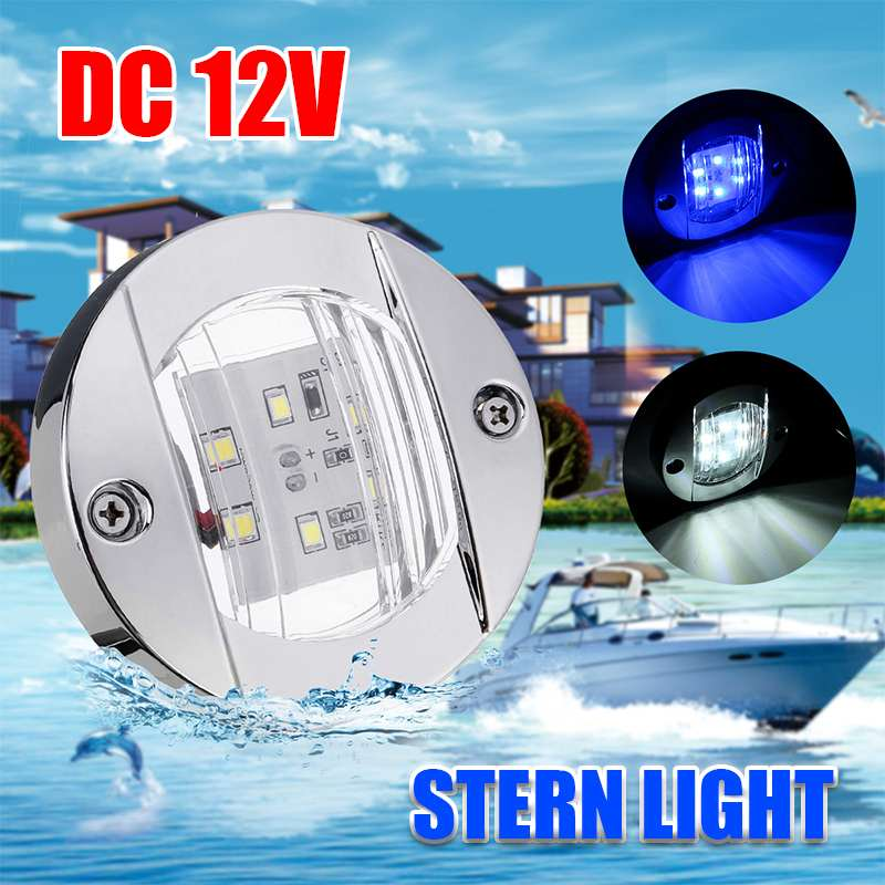 DC 12V Marine Boat Transom LED Stern Light Round Stainless Steel Cold White/ Blue LED Tail Lamp Yacht Accessories Waterproof