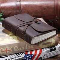 Caderno de viagem de diário de couro, caderno de escrita encadernado de couro vintage feito à mão para homem e mulher, diário de viagem sem forro para escrever