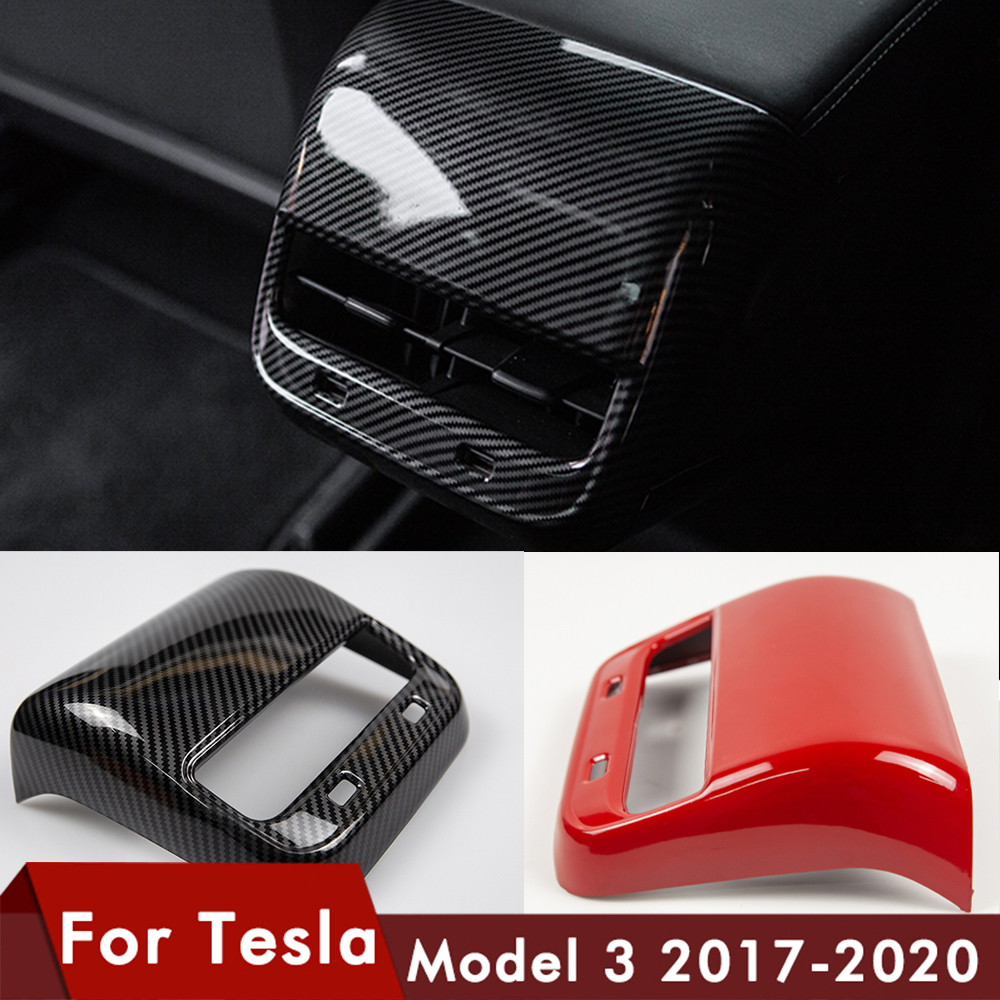 Heenvn Model3 Car Carbon Fiber ABS Rear Air Vent Outlet Cover Trim For Tesla Model 3 Accessories Interior Model Y Three ModelY