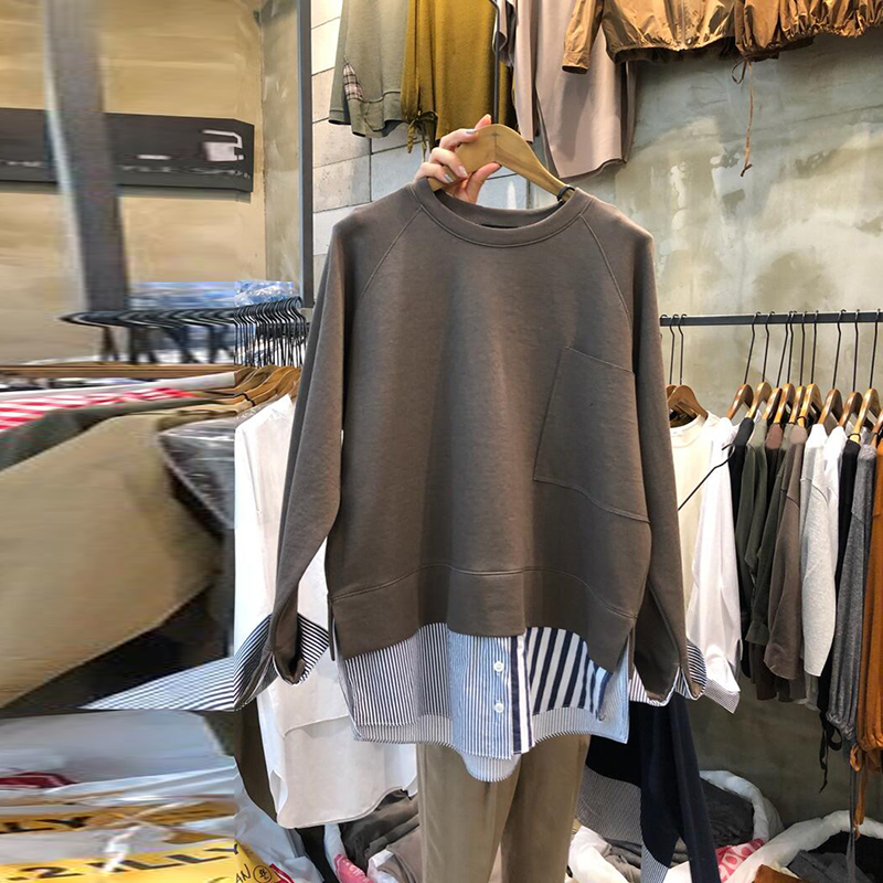 SuperAen Hoody Fake Two-piece Women's Sweatshirts 2019 Autumn New Cotton Casual Sweatshirts Female Round Neck Long-sleeved Tops