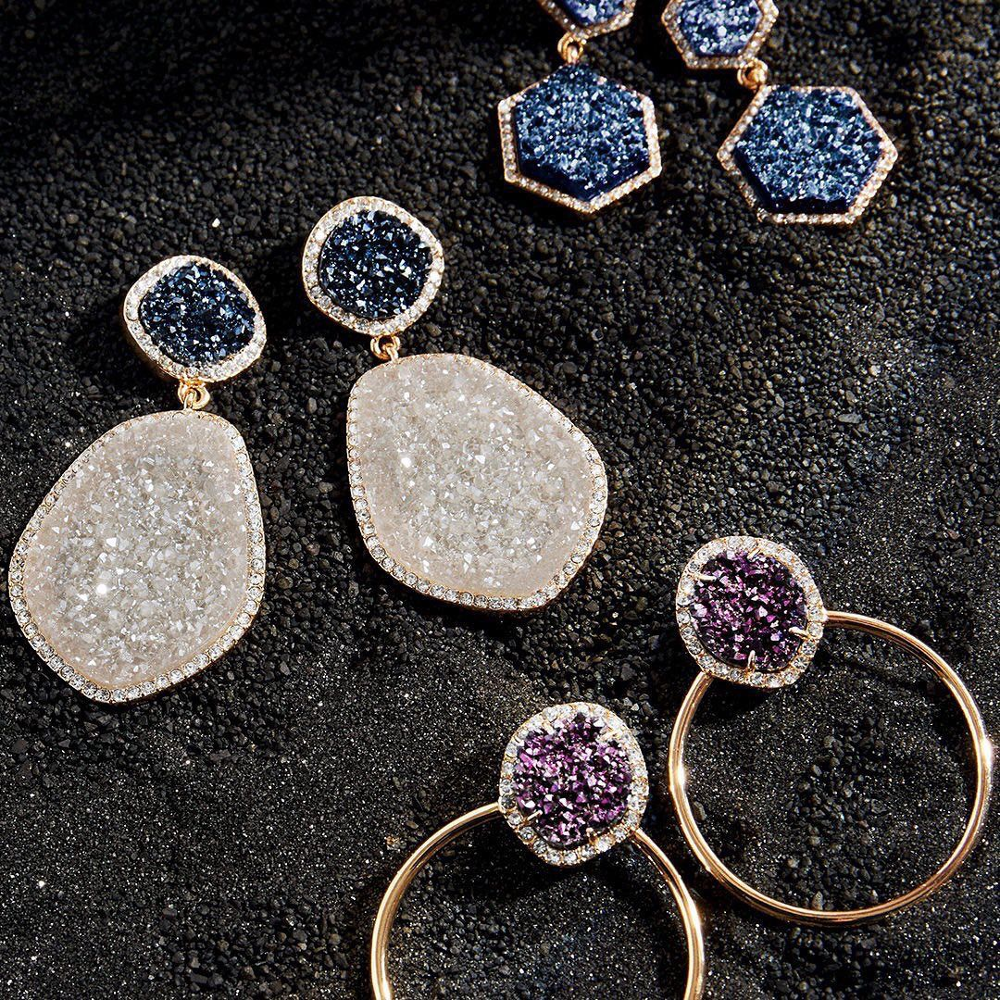 Dvacaman Druzy Stones Drop Earrings Women Colorful Geometric Circle Crystal Statement Earrings Christmas Gift Fashion Jewelry