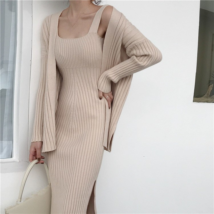 New Winter Women Cardigan   Straps Dress Casual Two Piece Suit Elegant Long Sleeve Knitted Sweater Dress Sets