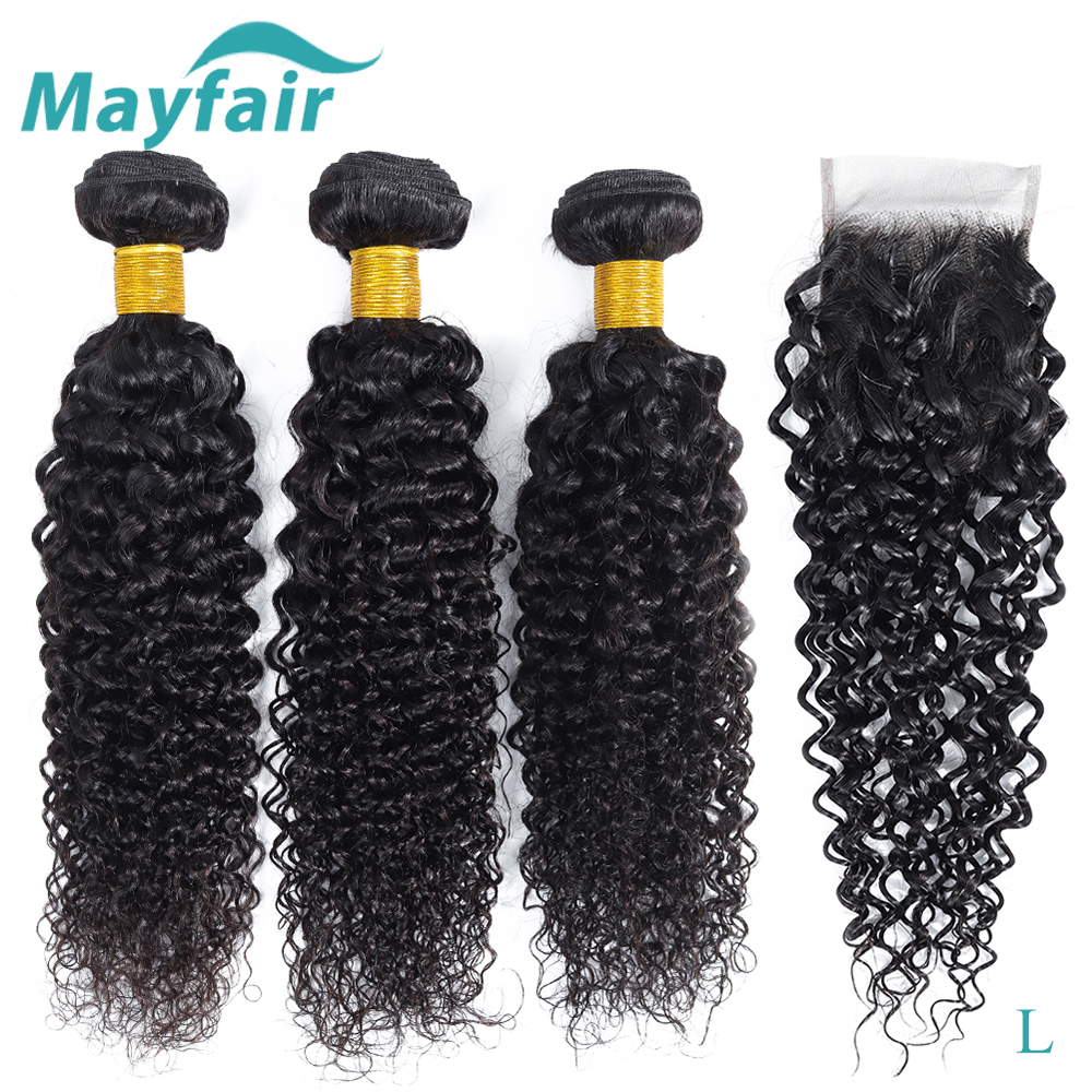 Afro Kinky Curly Bundles With Closure Malaysian Hair Weave Bundles With Closure L Non-Remy Human Hair Bundles With Closure