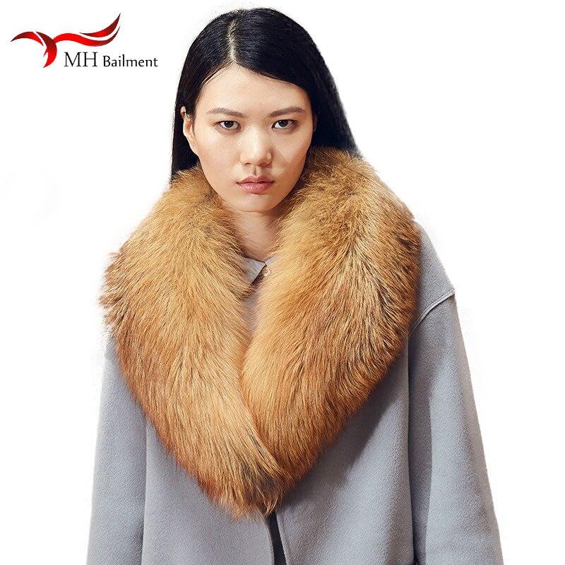 Winter New Real Fox Fur Collar Furry Red Fox Fur Brand Long Scarf Women Scarves Coat Shawl Fashion Luxury Warm Scarf Female