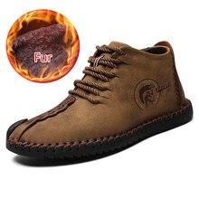 цена Fashion Men Leather Boots High Quality Split Leather Ankle Snow Boots Warm Fur Plush Lace-Up Mens Winter Shoes Plus size 38~48 онлайн в 2017 году